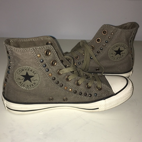 a30af259db4b Converse Shoes - Army Green High Top Converses W  Stud Details